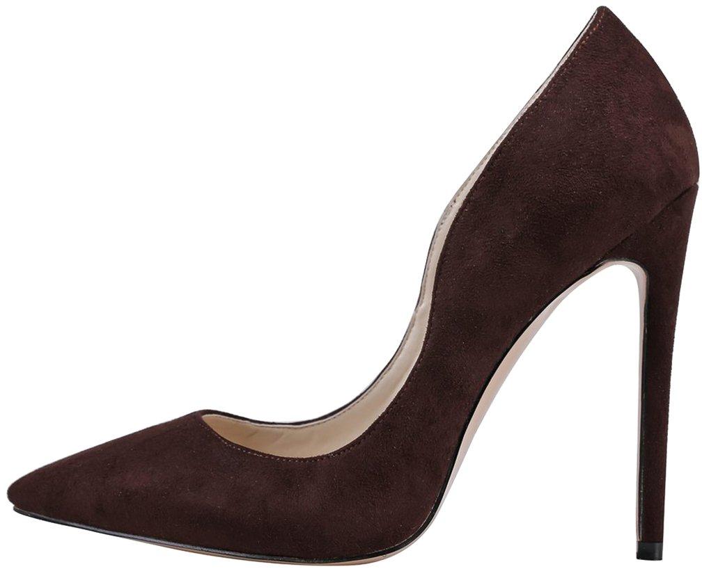 Calaier Mujer Caworry Tacón De Aguja 12CM Sintético Ponerse Zapatos de tacón 40.5|Marrón