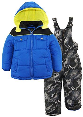 iXtreme Toddler Boys' Colorblock Snowsuit W/Print Bib, Royal, ()