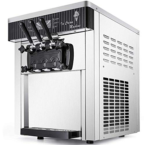 VEVOR Commercial Ice Cream Machine 5.3 to 7.4Gal per Hour Soft Serve with LED Display Auto Clean 3 Flavors Perfect for Restaurants Snack Bar, 2200W, Silver (Serve Mini Machine Soft Ice Cream)
