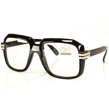 07b744c8185 Run DMC Rapper Retro Large Clear Lens Eye Glasses Black  Amazon.co.uk   Clothing