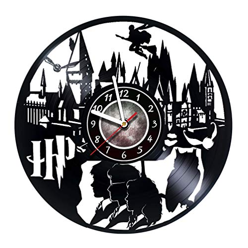 Harry Potter Merchandise - Vinyl Record Wall Clock - Hogwarts Poster - Kids room wall decor - Gift ideas for boys and girls, teens, friends – Harry Potter Stuff - Gift for him - Gift for her
