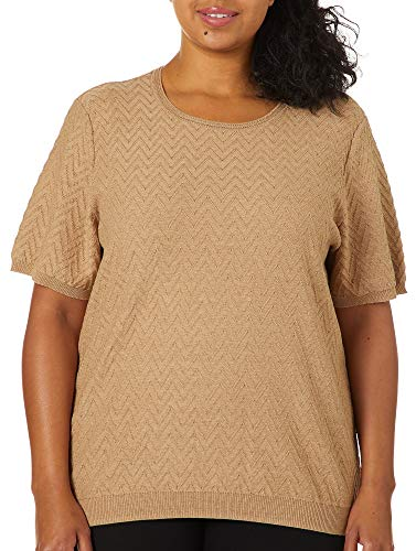 Alfred Dunner Women's Plus-Size Short Sleeve Sweater Shell, Tan, 2X