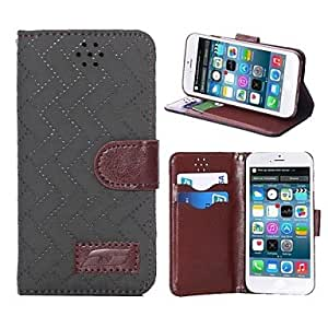 PEACH Natusun? Checkered Pattern Fabric Material Cover for iPhone 6(Assorted Colors) , Black