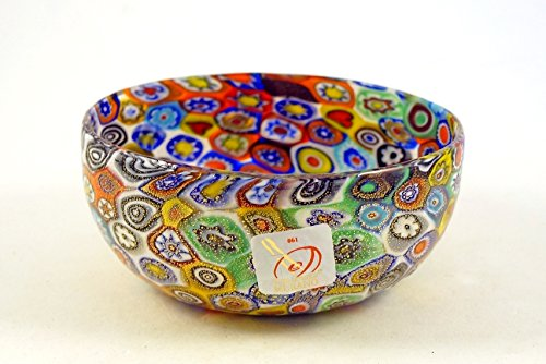 Murano Glass Bowl (Murano Glass Multi-color Murrina Bowl Gorgeous Millefiori Authentic Italian Art Glass of Venice Hand Made on the Island of Murano New with Murano Sticker)