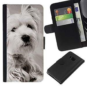 White Terrier Longhair Small Dog - la tarjeta de Crédito Slots PU Funda de cuero Monedero caso cubierta de piel HTC One M9