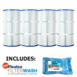 Pleatco Cartridge Filter PCC60 Pack of 4 Pentair Clear & Clear Plus 240 R173572 C-7469 FC-1975 w/ 1x Filter Wash