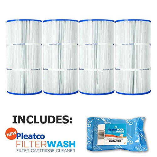 Pleatco Cartridge Filter PCC60 Pack of 4 Pentair Clear & Clear Plus 240 R173572 C-7469 FC-1975 w/ 1x Filter Wash by Pleatco