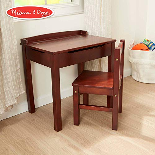Melissa & Doug Child's Lift-Top Desk & Chair (Kids Furniture, Espresso, 2 Pieces, 16.1