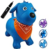 Runyuan Inflatable Jumping Dog for Kids including Pump-Ride-on Bouncy Animal-Best Eco-friendly Rubber Space Hopper Birthday Party Toy