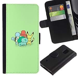 YiPhone /// Tirón de la caja Cartera de cuero con ranuras para tarjetas - Charactors monstruo lindo poke - Samsung Galaxy S5 V SM-G900