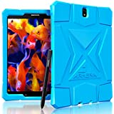 Armera Samsung Galaxy Tab S3 9.7 Case (SM-T820), High Impact Resistant Slim Heavy Duty Anti Slip Light Weight Kids Friendly Shockproof Protective Rugged Silicone Cover (Diamond - Blue)