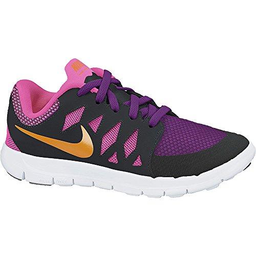 Girl's Nike Free 5.0 Running Shoe (PS) Black/Pink/Bold Berry/Orange Size 11.5 Kids US