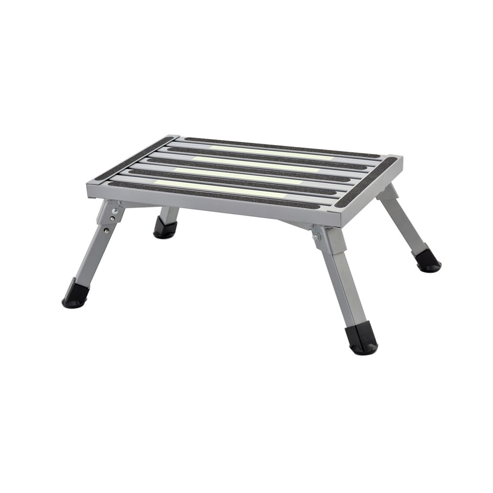 Eustl Caravan Step Aluminum Platform Step Strong Mini Step Ideal for caravanning camping and around the home silver