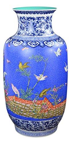 Classic Famille Rose Porcelain Vase, Etched-Flower Background, Birds and Flowers,Jingdezhen