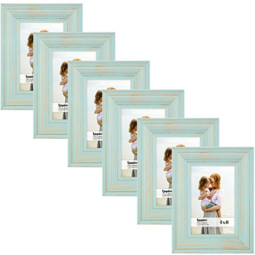 Langdons 4x6 Picture Frame Set (6-Pack, Eggshell Blue) Solid Wood Photo Picture Frames 4x6, Wall Hanging or Table Top, Display Picture Frame 4x6 Vertically or 6x4 Horizontally, Lumina Series