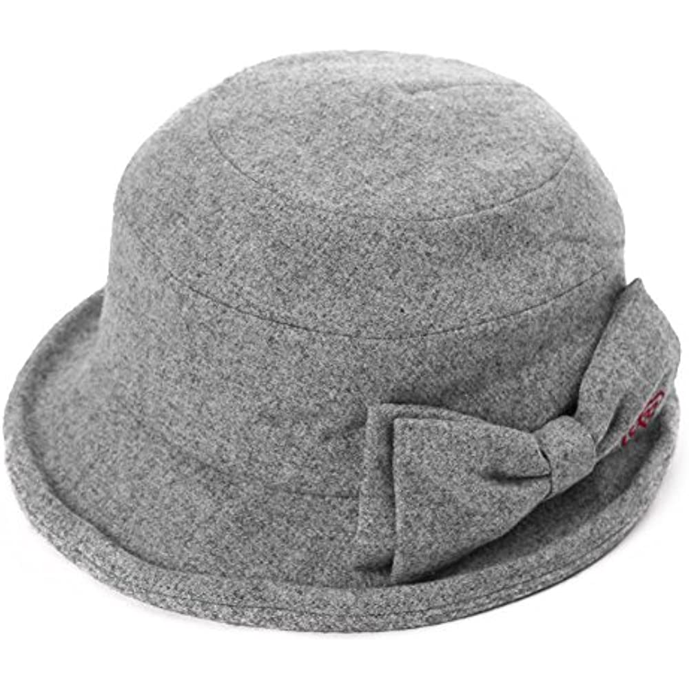 c473f4f64cb336 SIGGI Womens Cloche Hats Ladies Wool Hat Winter 1920s Vintage Derby Church Bowler  Bucket Hat Packable Grey at Womens Clothing store