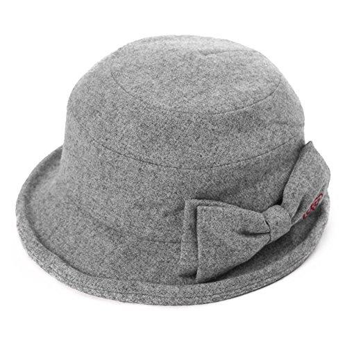 Womens Cloche Hats Ladies Wool Hat Winter 1920s Vintage Derby Church Bowler Bucket Hat Packable Grey SIGGI ()