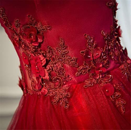 Da Scollo E V Vestito America Elegence Elegante Rosso Stereoscopico z Europa A Con Pizzo In Abito Sera Sera waRapTEPq