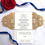 Picky Bride Gold Laser Cut Wedding Invitations Customized Invitation Cards with matching RSVP Cards and Return Envelopes - Set of 50 (Customized Invitations)