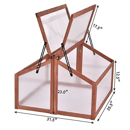 COSTWAY Greenhouses Wooden Double Box Garden Cold Frame Raised Plants Bed Protection + FREE E-Book Only By eight24hours