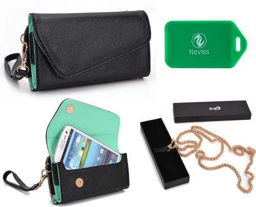 Price comparison product image Multi functional wallet and phone holder w/ a ccrossbody chain- Universal design in Black/Green- Universal design for Nokia Lumia 505, Lumia 510, Lumia 520, Lumia 521, Lumia 610, Lumia 610 NFC