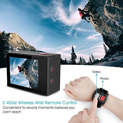 Action Camera 4K Sports Camera 20MP 40M 170°Wide-Angle WiFi waterproof Underwater Camera with 2.4G Remote Control 2 Batteries 2.0'' LCD Ultra HD Camera with Mounting Accessories Kit [2021 NEW VERSION]