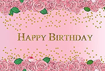 Leacco Pink Roses Flowers Photo Background 7x5ft Happy Birthday Party Decoration Photography Backdrops Watercolor