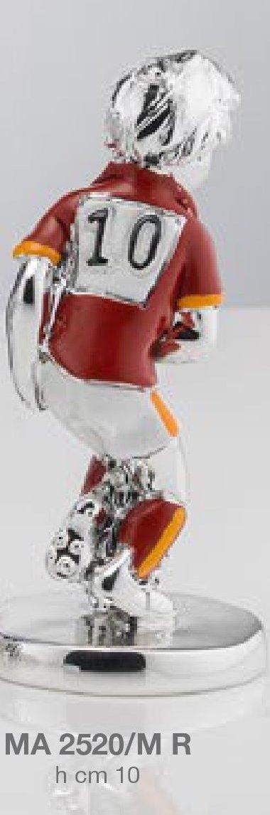 esmaltada 10/cm de altura Figura de jugador de f/útbol de la AS Roma chapado en plata MODA ARGENTI incluye caja fabricada en Italia