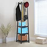 World Pride 3 Tiers Coat Shoe Towel Rack Storage Shelves,Black