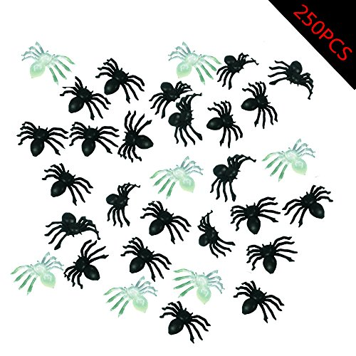 (DoTebpa 250pcs Mini Plastic Halloween Spiders Party Favor and Decoration,Spider Toy(200pcs Plastic Spider with 50pcs Luminous)