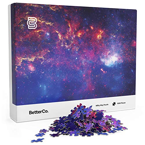 BetterCo. Milky Way Puzzle for Adults - 1000 Pieces - Explore The Stars with This Difficult 1000 Piece Puzzle of Outer Space! A Vibrant Galaxy Photo Shot from The Hubble Telescope!