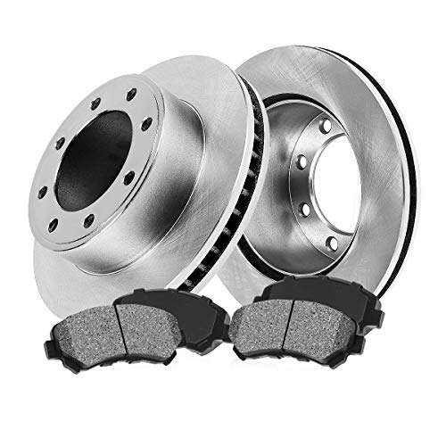FRONT 317 mm Premium OE 8 Lug [2] Brake Disc Rotors + [4] Metallic Brake Pads