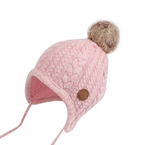 Cutegogo Christmas Crochet Baby Beanie Earflaps Little Girl Boy Knit Infant Hats Winter Warm Cap Lined Polyester Santa (Pink, M) by Cutegogo