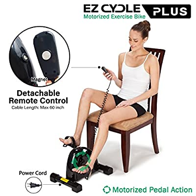U.S. Jaclean Motorized Assisted Desk Pedal Exerciser Mini Stationary Rehab Exercise Bike EZ Cycle Smooth Pedal System for Seniors Rehabilitation Bike