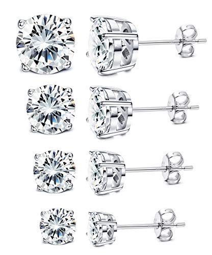 Milacolato 4 Pairs Sterling Silver Stud Earrings 18K White Gold Plated Round Cubic Zirconia Classic Basket Prong Set Earrings for Men Women 4-7mm ()