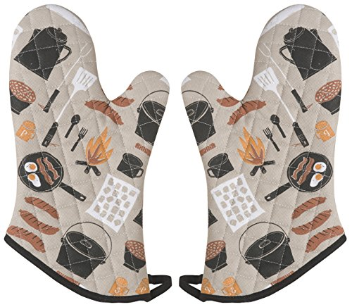 Now Designs Basic Oven Mitts, Set of Two, Camp Cookout ()
