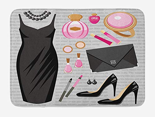 Heels and Dresses Bath Mat, Black Smart Cocktail Dress Perfume Make Up Clutch Bag, Plush Bathroom Decor Mat with Non Slip Backing, 23.6 W X 15.7 W Inches, Black Pale Pink Pale Brown