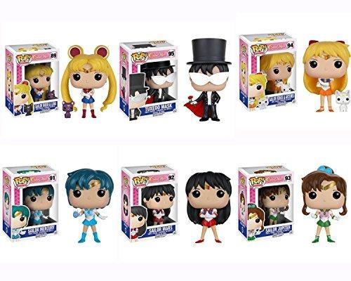 Sailor Moon - Sailor Moon w/Luna, Tuxedo Mask, Venus w/Artemis, Sailor Mercury, Sailor Mars, Jupiter Pop! Vinyl Figures Set of 6