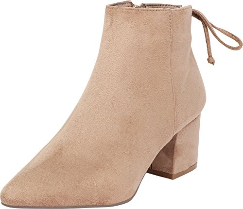 (Cambridge Select Women's Closed Pointed Toe Western Cowboy Chunky Block Heel Ankle Bootie,9 B(M) US,Taupe IMSU)