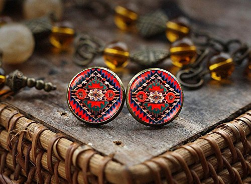 Gypsy Costume Clip (Ethnic art stud earrings, Native American Art earrings, Folk Art earrings, Boho style stud earrings, gypsy red stud earrings)