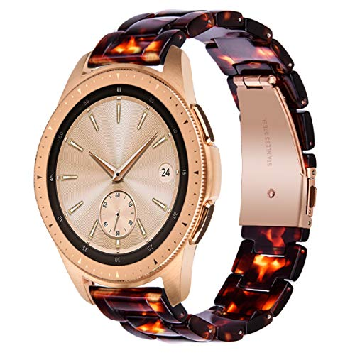 V-MORO Tortoise Strap Compatible with Galaxy Watch 42mm (Active 40mm) Bands Women 20mm Light Resin Bracelet with Stainless Steel Rose Gold Buckle for Samsung Galaxy Watch 42mm/Galaxy Watch Active 40mm (20mm Watch Band Titanium)