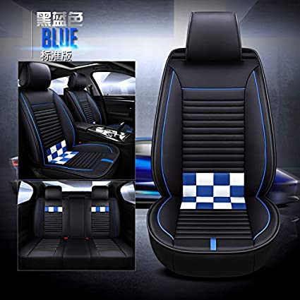 Saienno Custom wear-Resistant Leather Stitching Contrast Car Seat Cushion Covers 5 Seats Full Set Universal Fit. Black-White