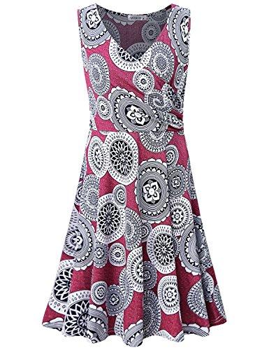 MOQIVGI Flower Dress,Ladies Modern Popular Vneck Cross Wrap High Waist Casual Spring Summer Street Midi Dress Boutique Elegant Dressy Confirmation Dresses for Women Red Medium -