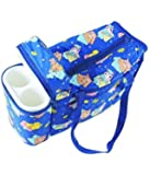 N&M Multi Purpose Baby Diaper Mother Bag With 2 Bottle Holders - (Dark Blue) - Assorted Prints