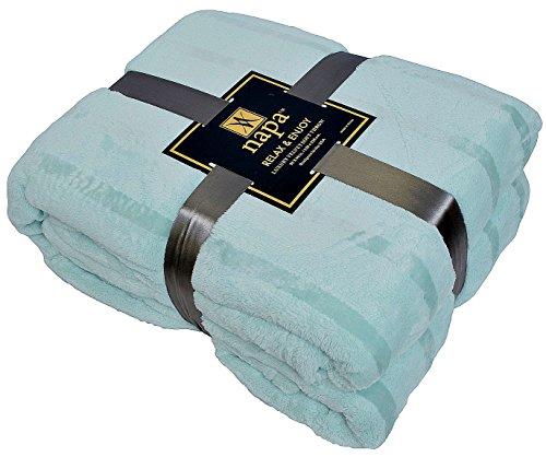 "Napa Plush Cashmere Throw Blanket Light Blue, 90""x90"" Queen/"