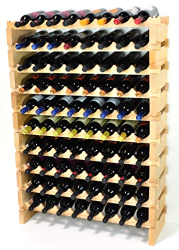 Modular Wine Rack Beechwood 32-96 Bottle Capacity 8 Bottles Across up to 12 Rows Newest Improved Model (80 Bottles - 10 Rows)