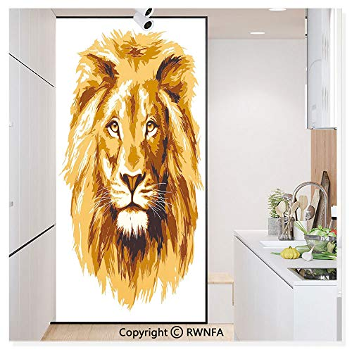 RWN Film No Glue Static Cling Glass Sticker Decorative,Illustration of The Lion King Biggest Cat in Africa Icon Animal in Tropics Artwork 17.7