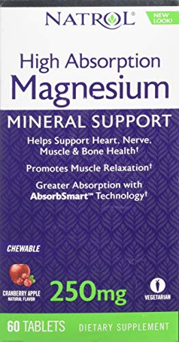 Magnesium 60 Tabs - Natrol High Absorption Magnesium Chew Tablets, 60 Count