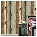 JZHOME 16181 Rustic Wood Plank Wallpaper Roll,Colorful Faux Retro Wooden Texture Wallpaper Decorating Bedroom Living room Hotels Wall 20.8in×32.8ft