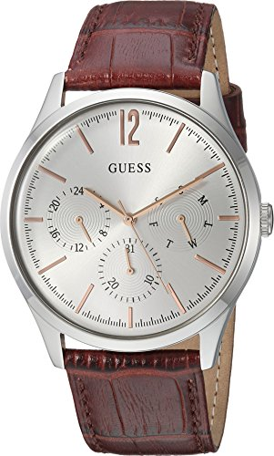 GUESS Men's Stainless Steel Multifunction Leather Casual Watch, Color: Silver-Tone/Brown (Model: U1041G1) - Guess Gc Men Watch